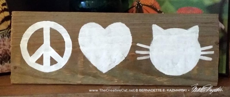 Peace, Love & Cats handpainted sign