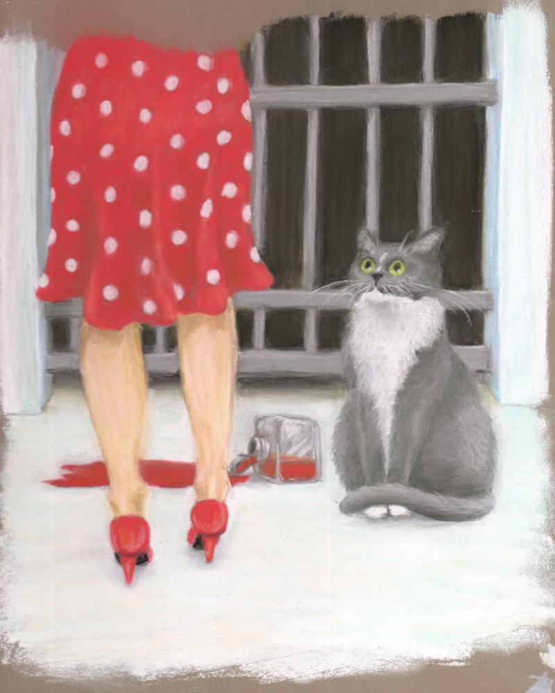 detail of cat-eye witness illustration with cat and woman in jail