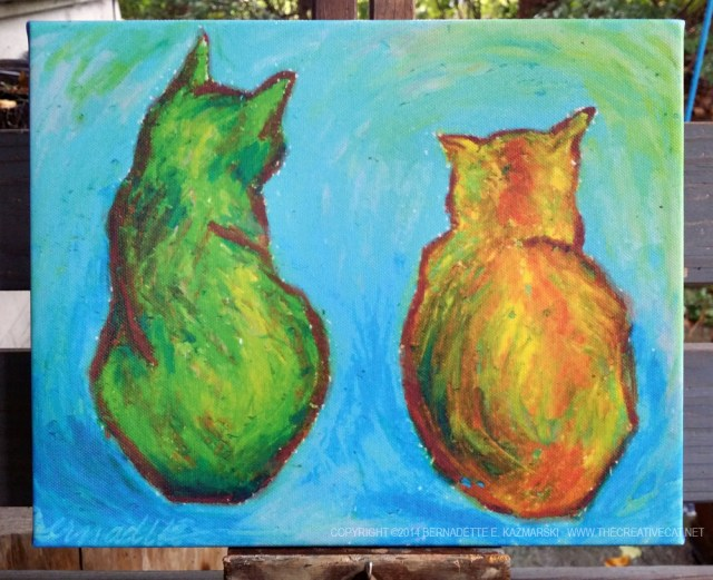 """""""Two Cats After van Gogh"""" as a gallery-wrapped canvas print."""
