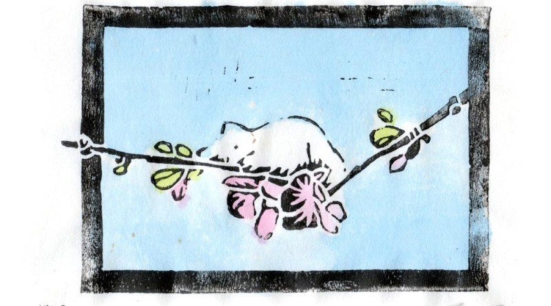 """The Spring Kitten"" linoleum block print on rice paper, black ink and hand-colored with watercolors"