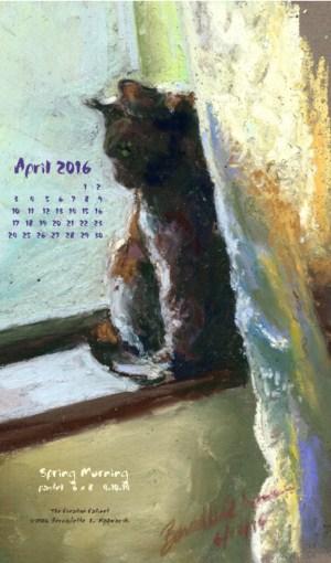 """""""Spring Morning"""" desktop calendar, for 400 x 712 for mobile phones."""