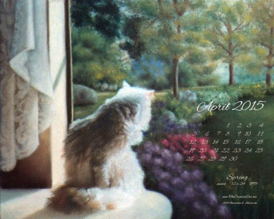 """Spring"" desktop calendar, 1280 x 1024 for square and laptop monitors"