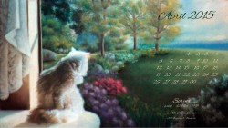 """Spring"" desktop calendar 2560 x 1440 for HD and wide screens."