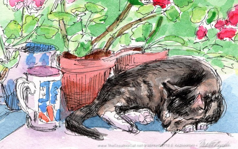"Detail of ""Stanley With Geraniums""."
