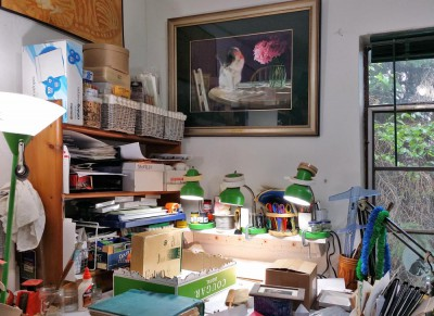 My worktable watched over by Peaches.