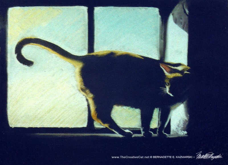 """Suncatcher"", pastel, 12 x 18 © Bernadette E. Kazmarski. Allegro on a sunny windowsill."