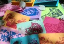 Marketplace: Bright and Colorful Handprinted Tabbies Note Cards