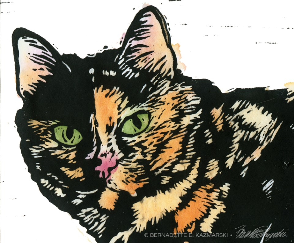 block print of cat
