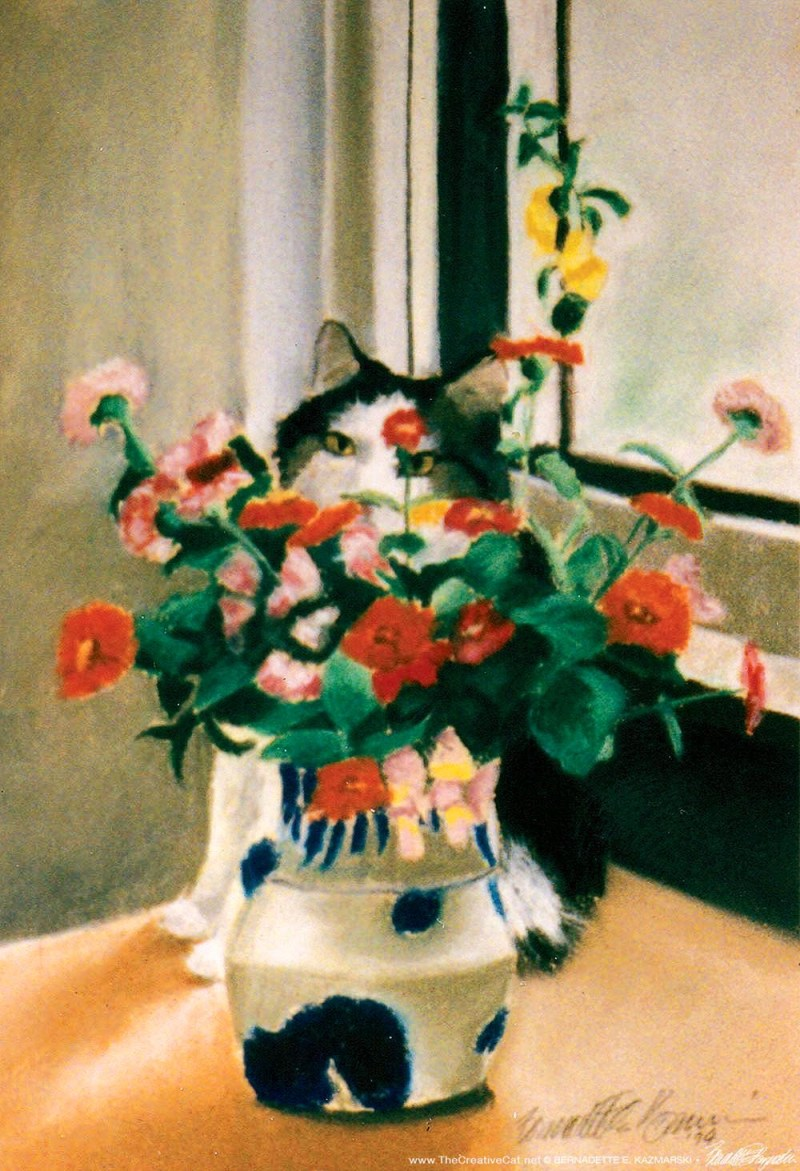painting of cat behind flowers