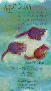 """Three Warm Cats on a Cool Ground"" desktop calendar for 480 x 854 for mobile devices"