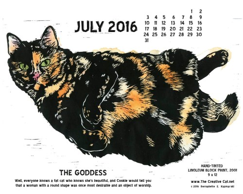 """The Goddess"" desktop calendar, 1280 x 1024 for square and laptop monitors."