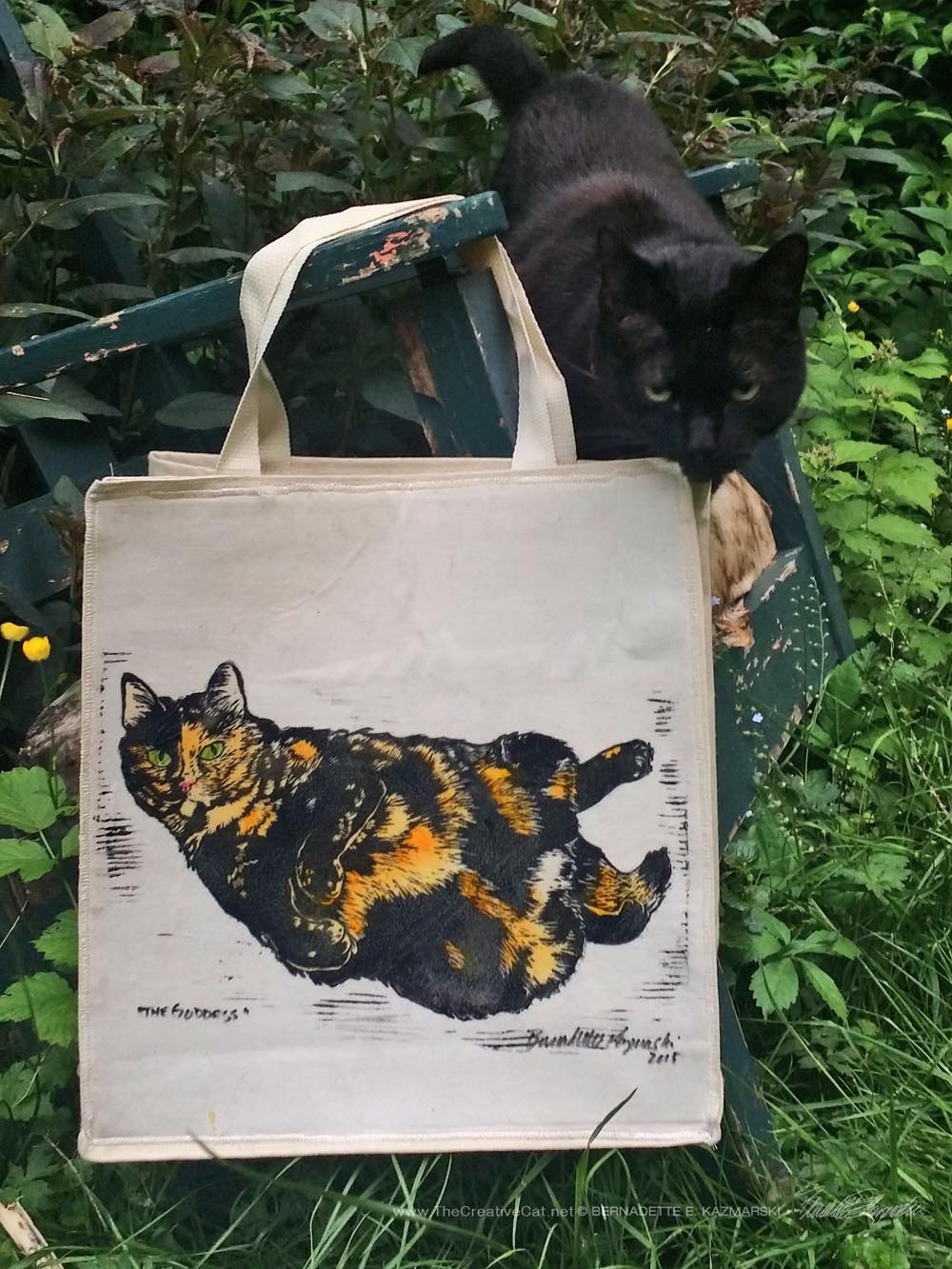 The Goddess tote bag--and you know how Mimi loves to photobomb my product photography.