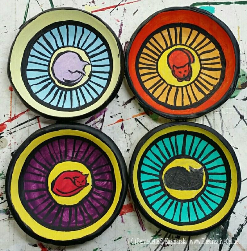 Handmade, hand-painted trinket dishes.