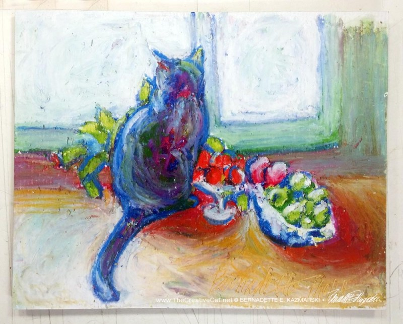 """Cat With Fruit"" hot pad/trivet."