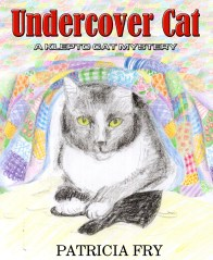 pencil sketch of cat under quilt with glove