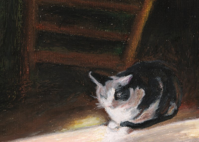 oil pastel painting of cat