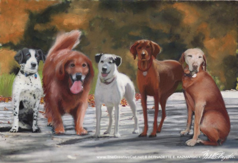 Sheena, Casey, Madison, Apollo and Ginger, 12 x 18, pastel © Bernadette E. Kazmarski