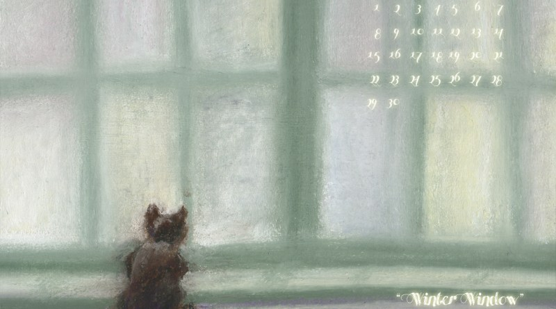 """Winter Window"" cat art desktop calendar for square monitors."
