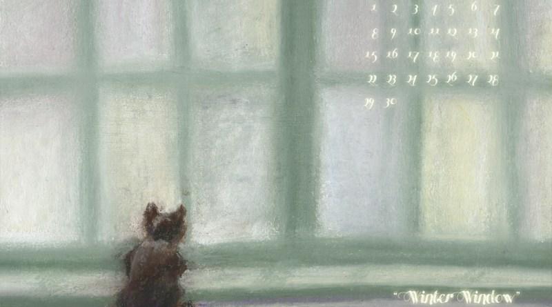 """Winter Window"" cat art desktop calendar for square monitors."