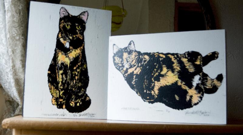 Tortie Girls wood mounted prints.
