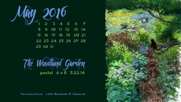 """The Woodland Garden"" desktop calendar 2560 x 1440 for HD and wide screens."
