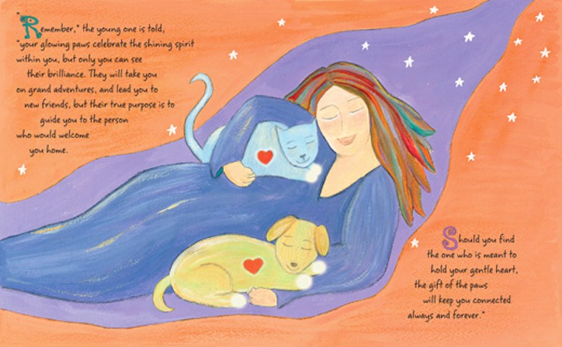 """Woman with Cat and Dog"" from ""Forever Paws"", an orange background with the blues and purples."