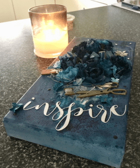 Brusho Crystals can be used for so much more than cards - Check out this Inspire mixed media canvas by The Creative Eclectic #mixedmedia #stampinup #alteredcanvas #embossingpaste