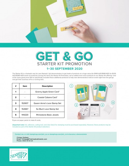 Stampin' Up! Get & Go Flyer. Join my team #stampinup #starterkit #promotion #thecreativeeclectic #tce #getgo