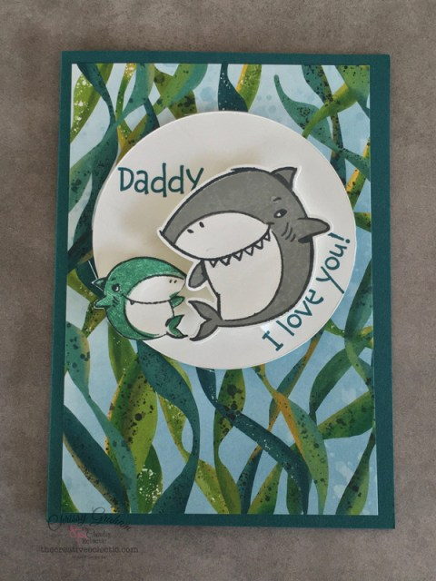 Baby Shark Loves Daddy Shark - Create a kid's valentines, birthday or Father's Day card with the Shark Frenzy Bundle - it's is so versatile - here's an a little card I created with the bundle #sharkWeek #babyshark #sharkfrenzy #stampinup #handmadecards #cardmaking #papercraft #iloveyoucards #valentinescard #makeacardSendacard #ChrissyGraham #stampinup #thecreativeEclectic