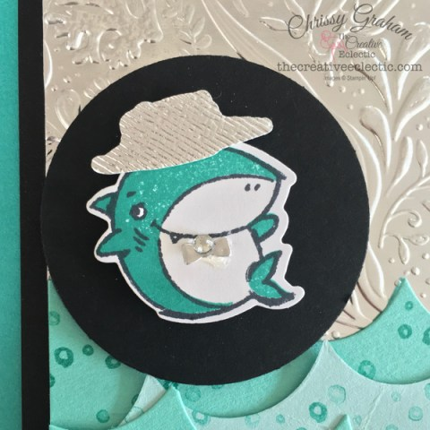 Shark Frenzy Bundle is so versatile and great for embossing - here's an a little card I created with the bundle #sharkWeek #babyshark #sharkfrenzy #stampinup #handmadecards #cardmaking #papercraft #makeacardSendacard #ChrissyGraham