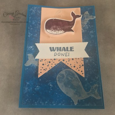 The Takeover of Shark Week with a Twist continues and this time whales are in the spotlight.- Learn how a simple sketch can be used to create fabulous different cards #sharkweek #whaledone #whale #cardmakingsketch #sketch #whaleofatimesuite #whaledone #stampinup #birthday #thecreativeEclectic #chrissyGraham #stampinupdemonstratoraustralia