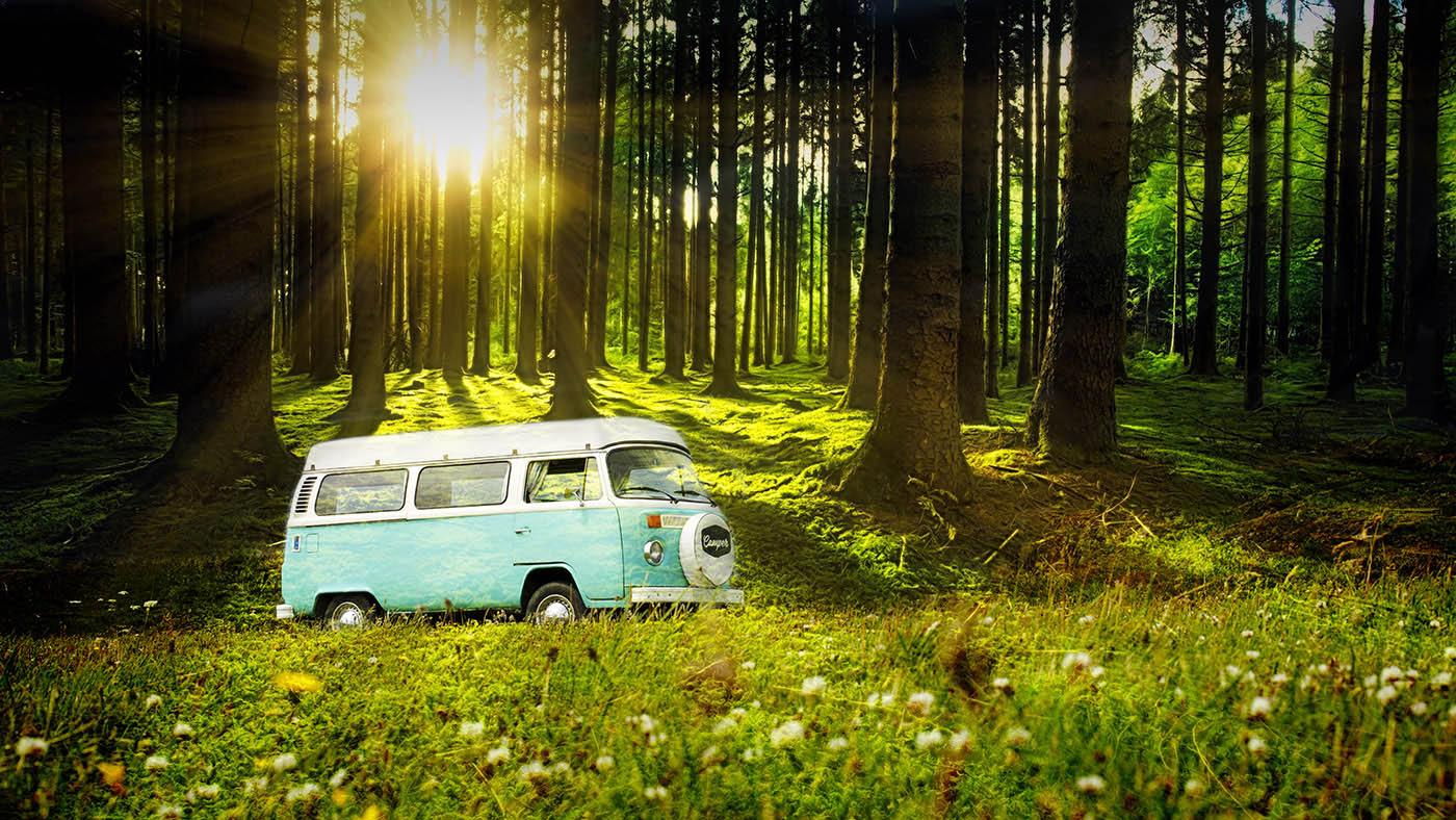 Vintage VW Camper Van Road Trip 04 - Stock Photo