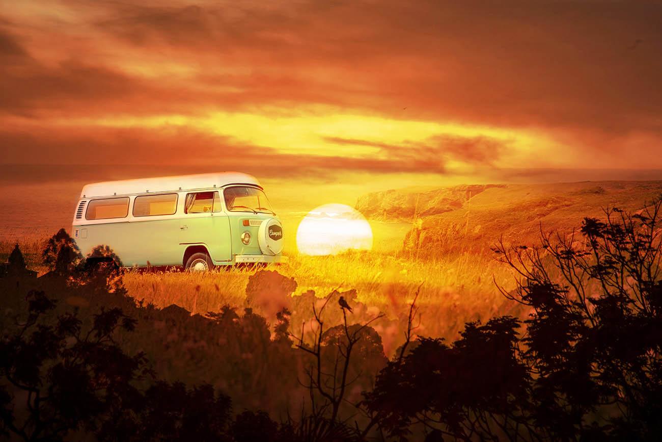 Vintage VW Camper Van Road Trip 05 - Stock Photo