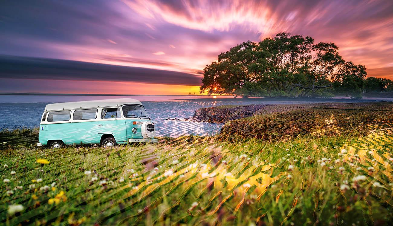 Vintage VW Camper Van Road Trip 08 - Stock Photo