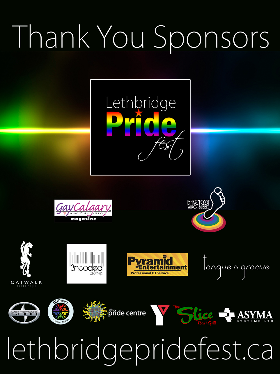 Lethbridge Pride Sponsor Board