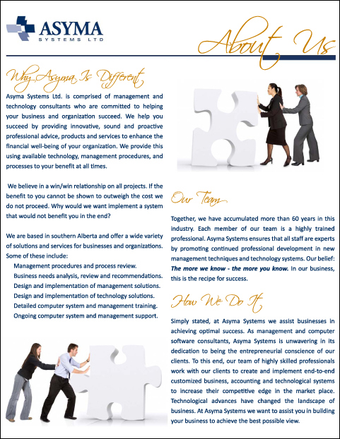 - Asyma Systems Marketing Book - Page 1 - About Us