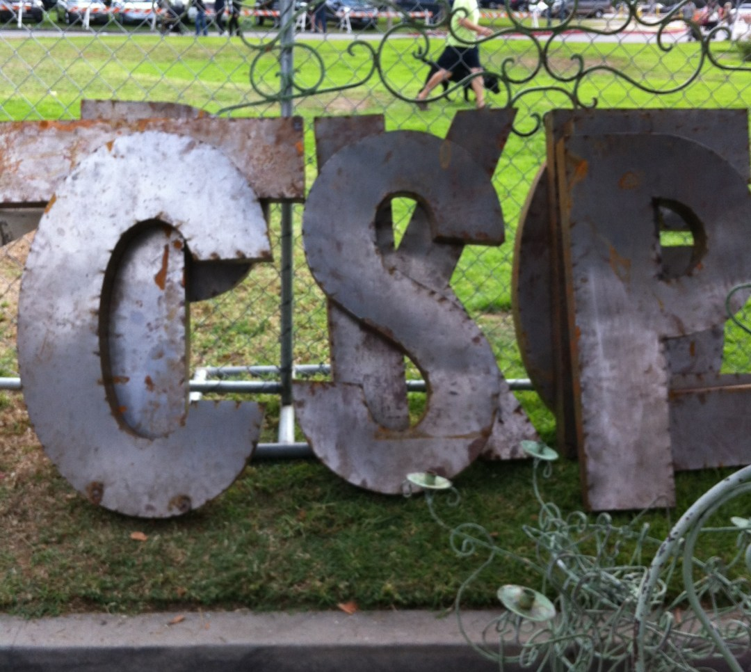 $85 for these industrial letters that are 3 1/5 feet high.  Would be cool next to a fireplace or in an office.
