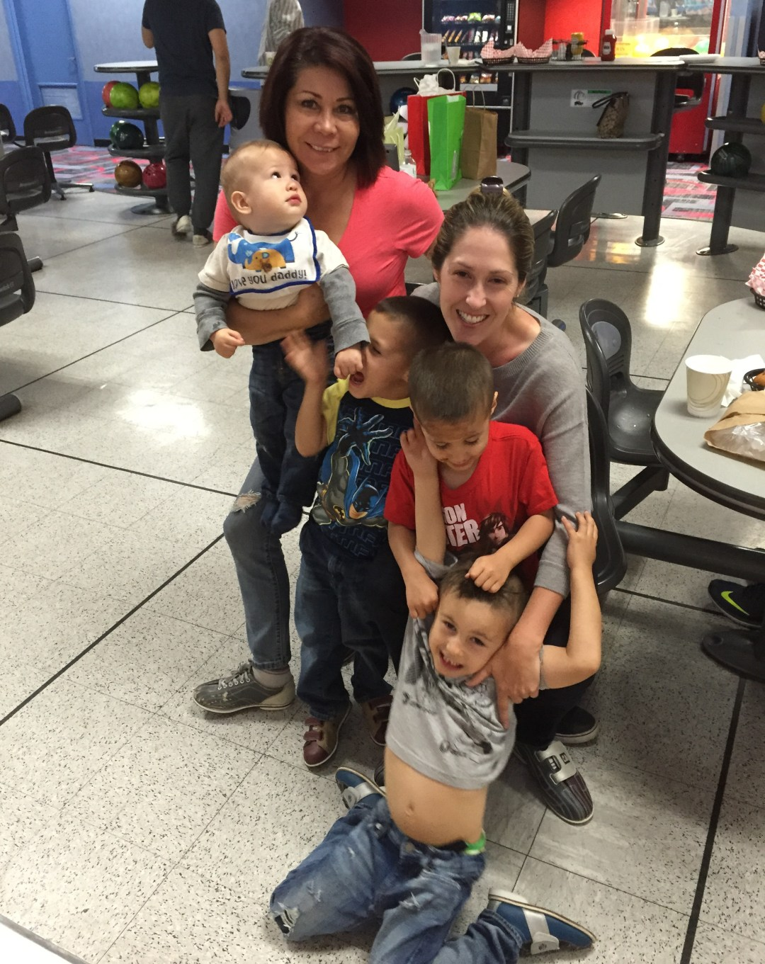 Bowling on Mother's Day - we are quite the handfuls!