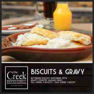 Biscuits and Gravy - The Creek Patio Grill Sunday Brunch - Cave Creek, Tatum Ranch, Phoenix