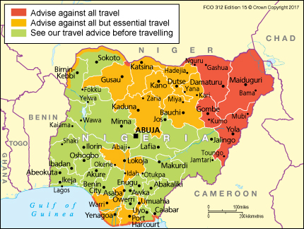 Map of Nigeria showing areas covered by the latest travel advice by UK
