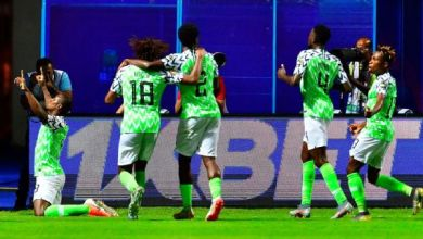 Super Eagles celebrate after Ighalo's goal
