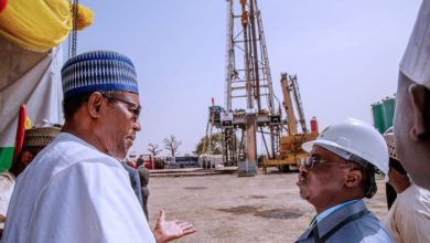 Buhari-and-Maikanti Baru at the flag-off of oil drilling in Bauchi State