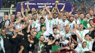 King of Africa-Algerian players pose with the yeild of their AFCON 2019 campaign (Photo-Mirror, UK)