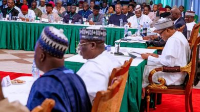 Business time-President Buhari at the Ministers retreat on Tuesday
