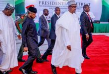 President Buhari and Vice President Yemi Osinbajo arriving the retreat