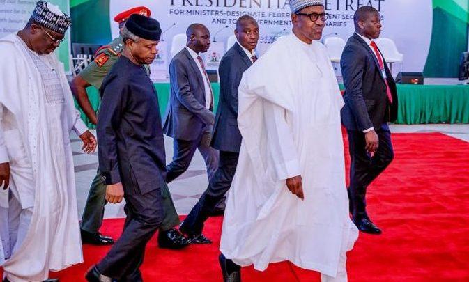President Buhari and Vice President Yemi Osinbajo arriving the retreat