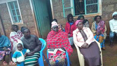 Shocked relatives and friend gather at the home of Jedidah Wanjiru in Kanyange village, Kirinyaga County on August 12, 2019 following news of her murder.