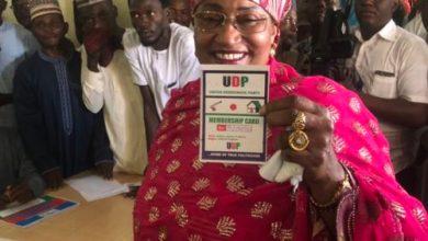 Aisha-Alhassan-a.k.a-Mama-Taraba-with-the-membership-card-of-UDP