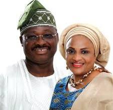 Ex-Gov. Isiaka Ajimobi and his wife, Florence