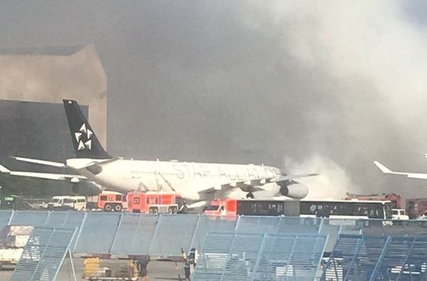 File photo-Plane catches fire at Frankfurt Airport